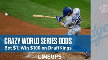 DraftKings Sportsbook World Series Odds Promotion: Bet $1 Win $100 (IL, NJ, PA, CO, IN, IA)