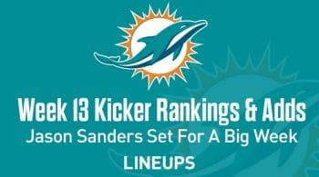 Week 13 Kicker Rankings & Pickups: Jason Sanders Set For A Big Week