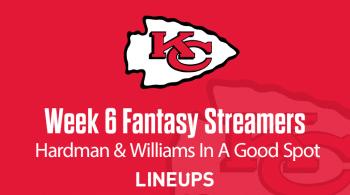 Week 6 Fantasy Football Streamers: Target Chiefs vs. Football Team Players